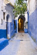 Morocco, Chaouen Narrow Street Lined With Blue Buildings