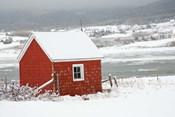 North America, Canada, Nova Scotia, Cape Breton, Cabot Trail, Red Shed In Winter