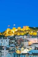 Portugal, Lisbon, Sao Jorge Castle At Dusk