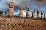 Easter Island, Chile A Row Of Moai Statues