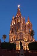 Mexico, San Miguel De Allende Cathedral Of San Miguel Archangel Lit Up At Night