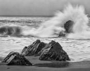 California, Garrapata Beach, Crashing Surf (BW)