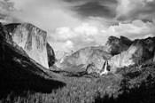 Panoramic View Of Yosemite Valley (BW)