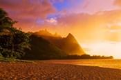 Evening Light On Na Pali Coast Spires, Island Of Kauai, Hawaii