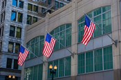 Flags Hanging Outside An Office Building, Chicago, Illinois