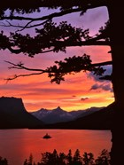 St Mary Lake And Wild Goose Island At Sunset