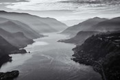 Aerial Landscape Of The Columbia Gorge, Oregon (BW)