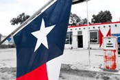 Flag At An Antique Gas Station, Texas