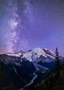 White River Valley Looking Toward Mt Rainier On A Starlit Night