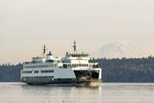 Seattle-Bremerton Ferry Passes In Front Of Mt Rainier