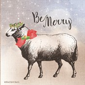 Vintage Christmas Be Merry Sheep
