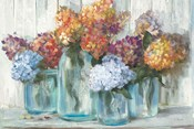 Fall Hydrangeas in Glass Jar Crop