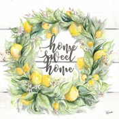 Watercolor Lemon Wreath Home Sweet Home