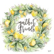 Watercolor Lemon Wreath Gather Friends