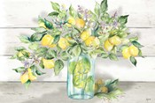Watercolor Lemons in Mason Jar Landscape