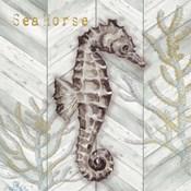Gray Gold Chevron Seahorse
