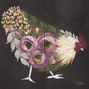 Floral Hen on Black