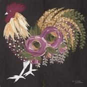 Floral Rooster on Black