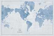 World Map White and Blue