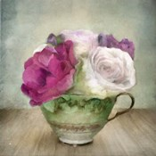Green Teacup and Roses Vintage Bouquet