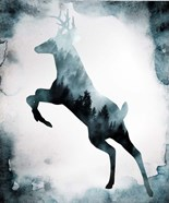 Moody Blue Deer Silhouette