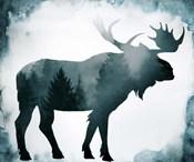 Moody Blue Moose Silhouette