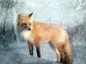 Winter Fox in Falling Snow