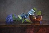 Copper Bowl With Blue Hydrangea