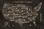 US City Map Black