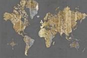 Gilded Map Gray - No Border