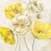 Gold and White Contemporary Poppies Neutral