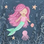 Mermaid and Octopus Navy I