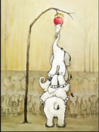Whimsical Elephants with Red Apple
