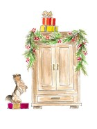 Armoire Decorated with Garland