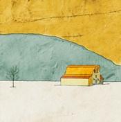 Teal and Yellow Barn