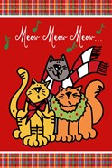 Christmas Cat Jingles on Red Plaid