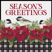Chickadee Christmas Red IV Seasons Greetings