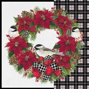 Chickadee Christmas Red V Wreath