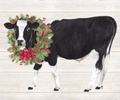 Christmas on the Farm III Cow with Wreath