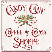 Vintage Christmas Signs I-Candy Cane Coffee