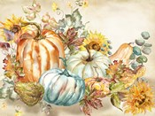Watercolor Harvest Pumpkin landscape