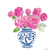 Chinoiserie Roses on White I