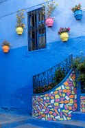 Morocco, Chefchaouen Colorful House Exterior
