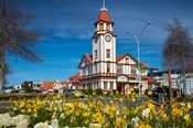 I-SITE Visitor Centre (Old Post Office) And Flowers, Rotorua, North Island, New Zealand