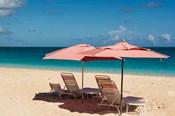 Beach Umbrellas On Grace Bay Beach, Turks And Caicos Islands, Caribbean