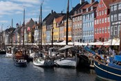 Colorful Buildings, Boats And Canal, Denmark, Copenhagen