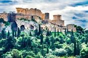Acropolis, Green Trees, Hill From Agora Temple Of Athena Nike Propylaea, Athens, Greece