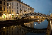 Italy, Lombardy, Milan Historic Naviglio Grande Canal Area Known For Vibrant Nightlife