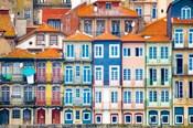 Europe, Portugal, Porto Colorful Building Facades Next To Douro River