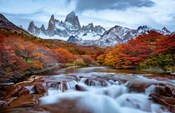 Argentina, Los Glaciares National Park Mt Fitz Roy And Lenga Beech Trees In Fall